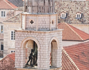 Dubrovnik Croatia Photography - Bell Tower Print - European Architecture Photograph - Rooftop Photo - Travel Photography - 8x10 11x14 16x20