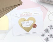 "6 Scratch-off ""Be My Bridesmaid"" Telegrams / Pink & Gold Foil"