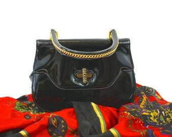 Vintage 60s Small Handbag Black Patent Vinyl Purse Goldtone Chain Trim