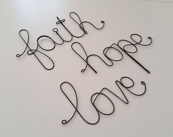 FAITH HOPE LOVE Sign, Wall Hanging Sign, Wall Decoration, Inspirational Sign, Religious Sign Decoration, Wall Ornament, Housewarming Gift