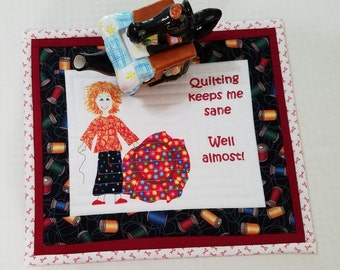 QUILTERS MugRug or SnackMat or CandleMat Approx 12 x 11 inches in Red White Green Black Orange  A Quiltsy Handmade on Etsy item