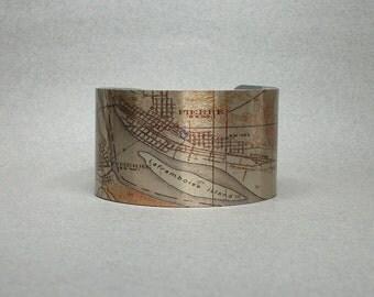 Pierre LaFramboise Island South Dakota Map Cuff Bracelet Unique Gift for Men or Women