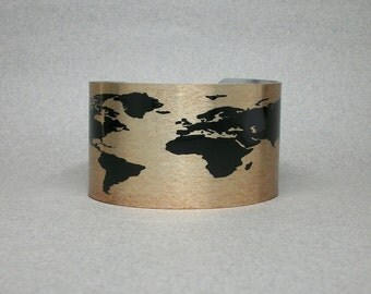 World Map Cuff Bracelet Unique Gift for Men or Women