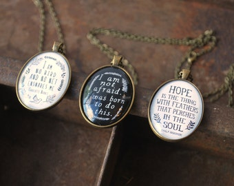 Inspirational Necklace Set - Charlotte Bronte, Emily Dickinson, Joan of Arc - Jane Eyre Quote - I am no bird - I am not afraid - Hope