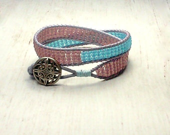Double Wrap Leather Bracelet - Wrap Around - Seed Bead Wrap Bracelet - Purple Blue Wrap - Beaded Bracelet - Southwestern Bracelet
