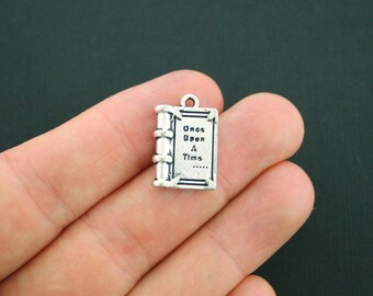 BULK 20 Fairy Tale Book Charms Antique Silver Tone Once Upon A Time Charm - SC2176
