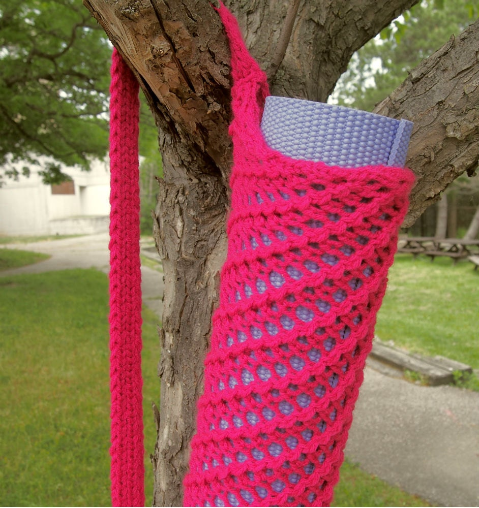 Hot Pink Yoga Mat Bag Knit Yoga Mat Sack with Carrying Strap