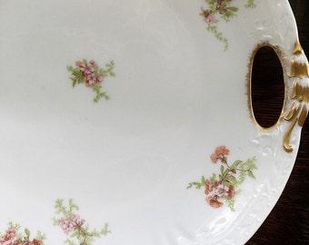 Rare Antique Limoges France Porcelain Serving Platter Open Handle Large Cake Plate Red Rooster Societe Alluaud China Cabinet Display