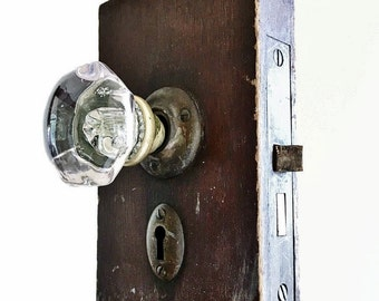 Antique Glass And Brass Doorknob Set With Brass Keyhole Architectural Salvage Piece Of Heavy Wood Door Home Restoration Renovation Found Art