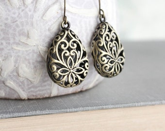 Filigree Earrings Antiqued Brass Vintage Style Lace Drop Earrings Modern Pear Nickel Free Everyday Jewelry Womens Fashion Accessories