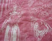 """Antique French fabric """"MARY QUEEN of SCOTS"""" antique french fabric 19thc textile"""