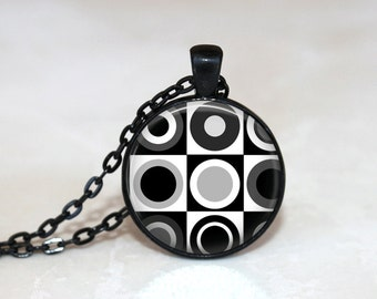 GlassTile Necklace Retro Necklace Glass Tile Jewelry Retro Jewelry Black and White Black Jewelry Black Necklace Silver Jewelry Black Jewelry