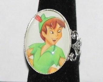 Vintage Peter Pan Disney Ring Silver Filigree