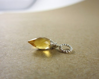 Sm - November Birthstone Jewelry - Yellow Citrine Pendant - Sterling Silver charms - Natural Citrine Jewelry - Genuine Citrine Charm