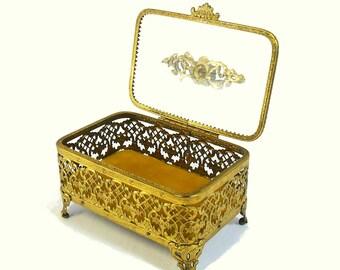 Vintage Ormolu Jewelry Box Casket with Roses Ornate Gold Filigree Trinket Ring Holder Rectangular Gold Vanity Box Latticework Design