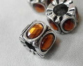 6pc - Amber Brown Topaz Oval Crystal with antiqued Silver metal large hole beads, 10mm x 8mm, hole diameter 5mm, package of 6