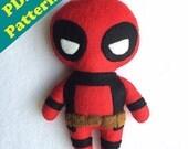PDF PATTERN - Cute Deadpool Chibi Plush (Digital Download)