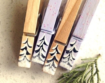 snow covered trees clothespins lavender wooden hand painted magnetic