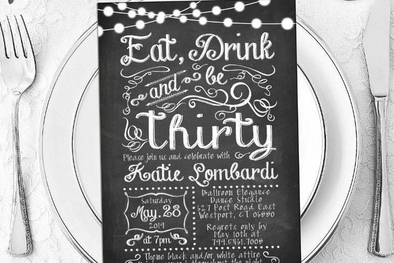 30th birthday invitations eat drink thirty chalkboard, Birthday invitations