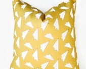 Yellow Paper Plane Pillow
