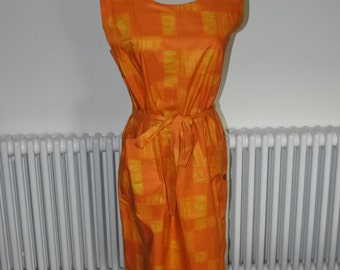 1960's classic tangerine orange sunset shift dress
