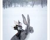Winter Hare Greeting Card - Felt Art