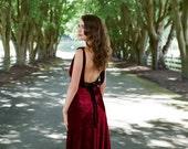 Backless Marsala Velvet Wedding Gown, 1930, 1920, Art Deco, Vintage Inspired, SONATA, Unique Wedding Dress, Red Alternative, Colors