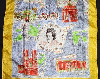 Amazing vintage 50's novelty print silk scarf London Queen Elizabeth 2 Quadriga Arch Buckingham Palace Coronation Coach Westminster Abbey UK