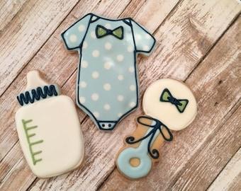 Baby Shower Cookie Favors for Boys, Onesie, Rattle, Bottle - 1 dozen