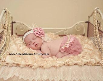 Newborn Pink Chiffon Bloomers, Tutu, Diaper Cover,Dusty Rose, Pink, Newborn Photo Props, Removable Sash, Newborn Gift Set, Photos, Baby Girl