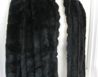 1980s Vintage Black Faux Fur Jacket, Faux Fur Coat, Swing Coat, Winter Coat, Retro, Glam, Punk, Rocker, Groupie, Boho, Ladies Large