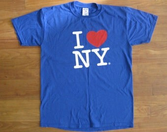 Vintage New York T shirt // I Heart NY // Red White and Blue // American // Mens Size M