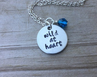 """Wild at Heart Inspiration Necklace- """"wild at heart"""" with and accent bead in your choice of colors-  hand stamped jewelry"""