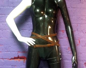 Rust Leather Skinny Wrap Belt