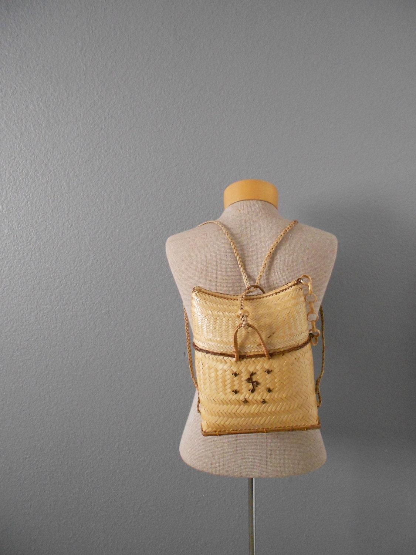 Wicker Basket Backpack : Vintage picnic woven bamboo basket backpack wicker straw