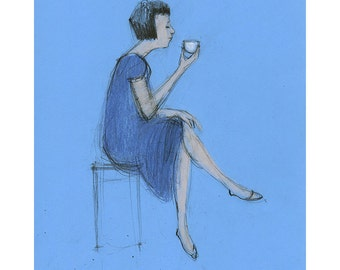 Woman drawing sitting coffee tea original art illustration people figurative blue