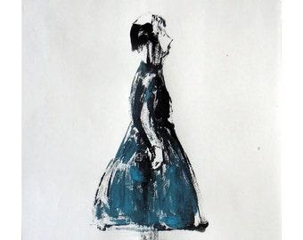 Girl blue original art monotype figurative people standing profile