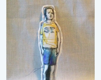 art doll SF boy Andrew original handmade hand painted Real People fabric textile soft sculpture OOAK