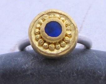 Lapis Lazuli Ring - 24 Karat Gold Ring - 24k Gold & Lapis Lazuli Ring - Lapis Solitaire Ring