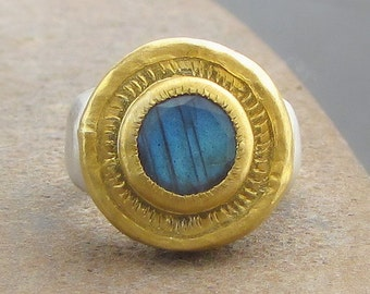 Labradorite Ring - 24 Karat Gold Ring - Gold & Silver Ring - Labradorite Signet Ring