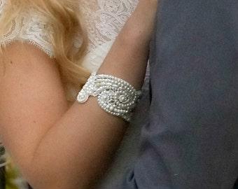 Bridal pearl jewelry wedding pearl bracelet bride bracelet pearl bridal bracelet pearl cuff bracelet,Carellya Bridal Cuffs Keepsake jewelry