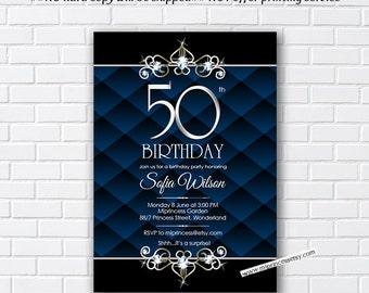 Birthday Invitation Card Design - BLUE Glam Black Birthday for any age 30th 40th 50th 60th 70th 80th with rhinestone Bling Elegant - card4