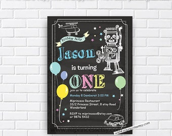 Toy Robot Birthday Invitation for any age, 1st 2nd 3rd 4th 5th 6th 7th 8th kids birthday invitation chalkboard toy Invitation - card  98