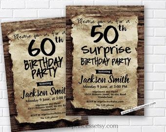 Birthday Invitation for any age, vintage wood design 30th 40th 50th 60th 70th 80th 90th surprise retro rustic birthday invitation - card 725