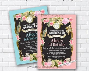 Alice in wonderland invitation,  Birthday Invitation, Alice Mad tea party first birthday 1st 2nd 3rd 4th 5th 6th 7th 8th 9th 10th - card 902