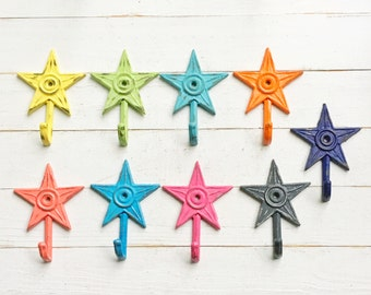 Patchwork Star Wall Hooks-Cast Iron -Small Dainty-Set Of 4-Laundry Room-Summer Decor-Cute-Shabby Cottage-Distressed Hook-Bathroom Decor Set