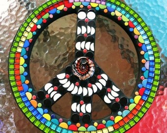 "CUSTOM PEACE Sign - 16"" Round - Hippie / Bohemian Artwork - Glass Pendant Focal Point, Ceramic, Glass Gems, Black & White and Colors - OOAK"