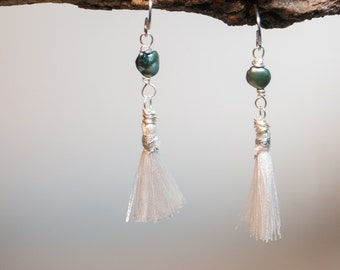 Sea Fringe Earrings Steel Blue Fresh Water Pearls with Silver Wire and White Silk Fringe Dangle - Boho Chic Art Jewelry by Ardent Life