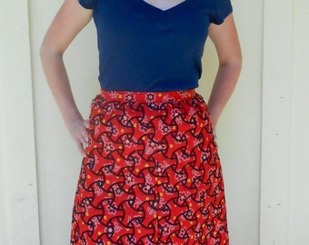 Vintage 1970s red embroidered patchwork maxi skirt / bandana skirt, size XS