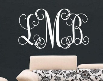 Personalized Monogram Wall Decal - Children Wall Decal - Vinyl Lettering- Nursery Wall Decal - Wedding Monogram Decal - Vinyl Lettering
